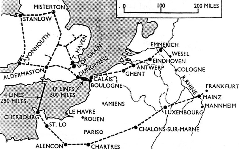 The map shows the network of land-based pipelines connected by the PLUTO project, with its underseas tubing (much of it forged by Corby's Stewarts & Lloyds) running from the Isle of Wight to Cherbourg and from Dungeness to Calais.