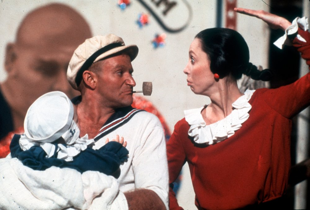 Opposite Shelley Duvall as spinach-munching comic-strip hero Popeye in Robert Altman's big-screen musical adaptation, Popeye (1980)