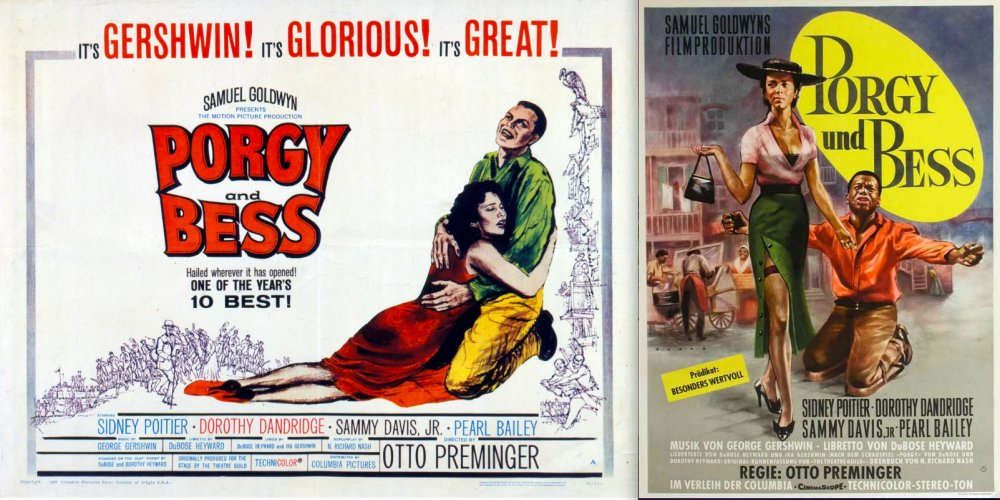 Compare the colour of Sidney Poitier's and Dorothy Dandridge's skin in the Hollywood poster for Otto Preminger's Porgy and Bess (1959), left, and the West German design, right.