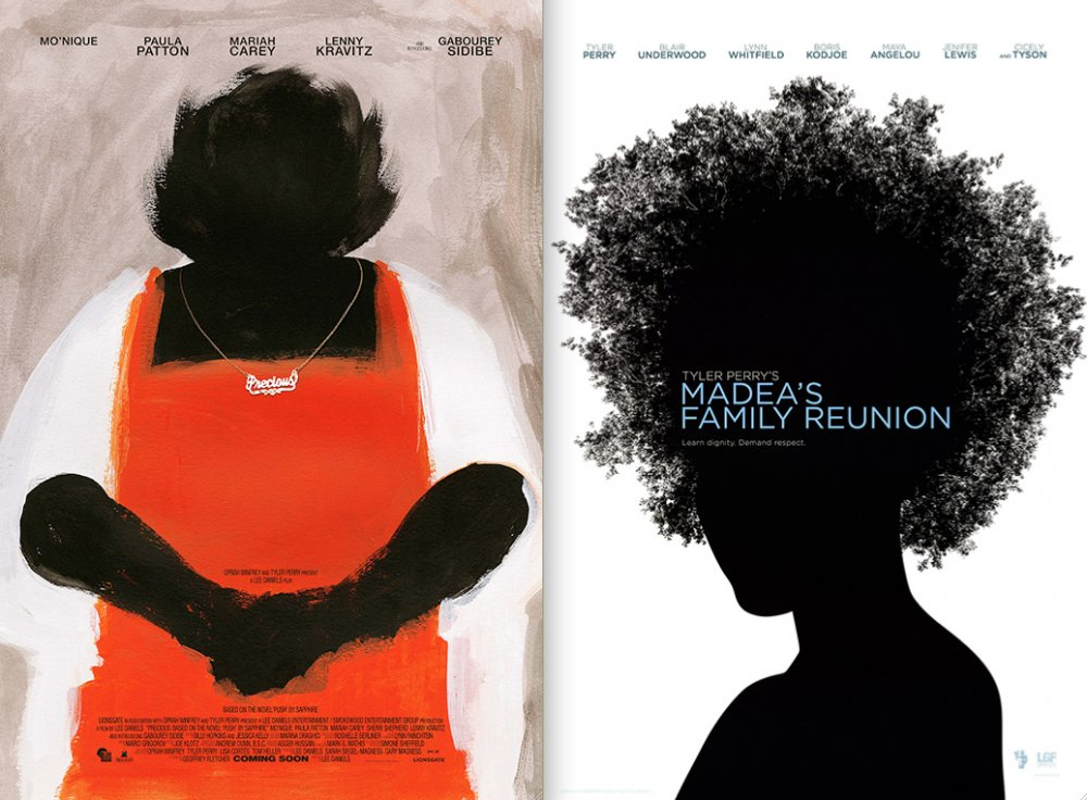 Posters for Lee Daniels's Precious (2009), left, and Tyler Perry and Elvin Ross's Madea's Family Reunion (2006), right, both using bold silhouettes to draw attention to their black protagonists.