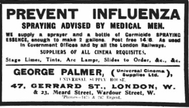 An advert in The Era, 6 November 1918