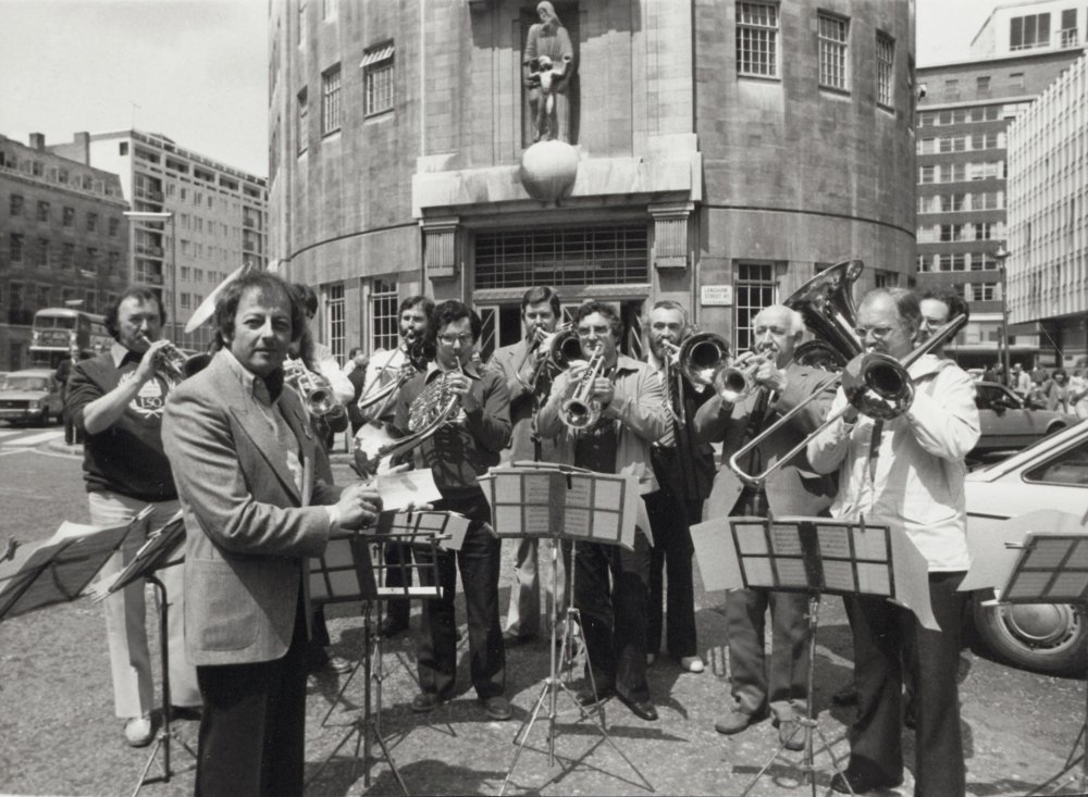 André Previn outside BBC Broadcasting House