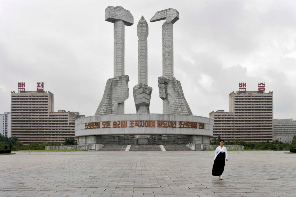 The grey skyline of North Korea's capital Pyongyang is free of advertising and dotted with monuments to the ruling party.