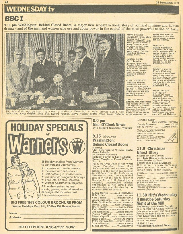 RadioTimes page from 1977 showing the Stigma listing