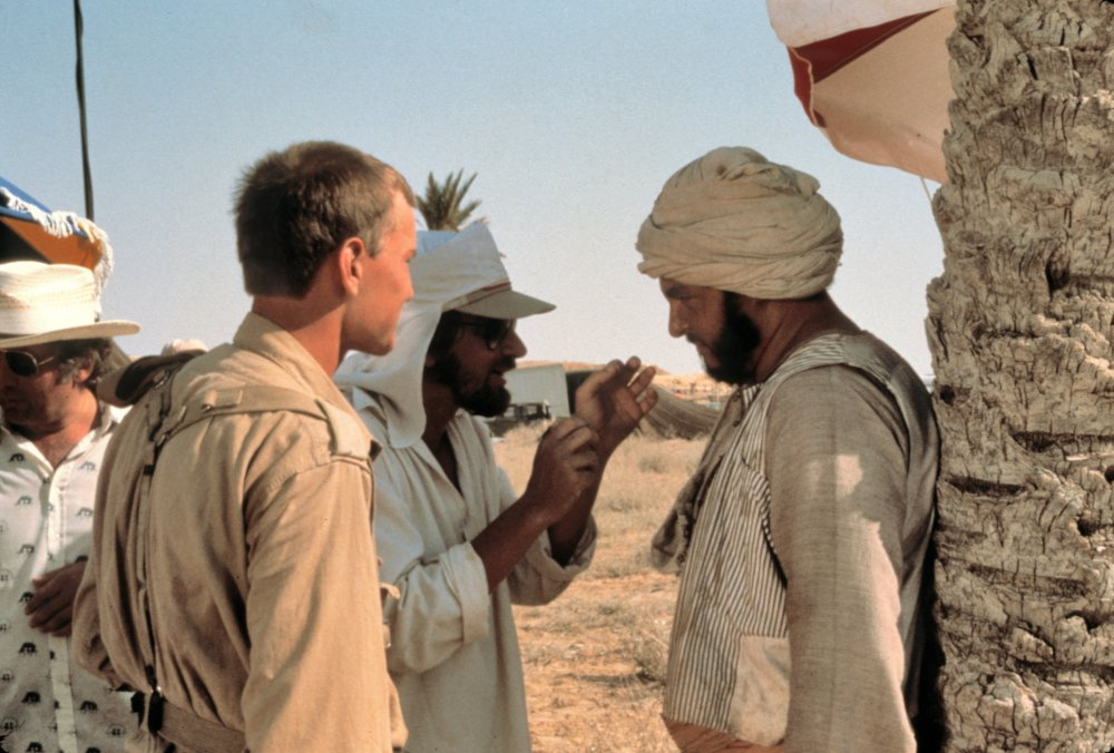 Looking the part for a Boy's Own adventure in the desert, Spielberg gives direction to actor John Rhys-Davies. Davies plays Indy's friend Sallah, 'the best digger in Cairo'