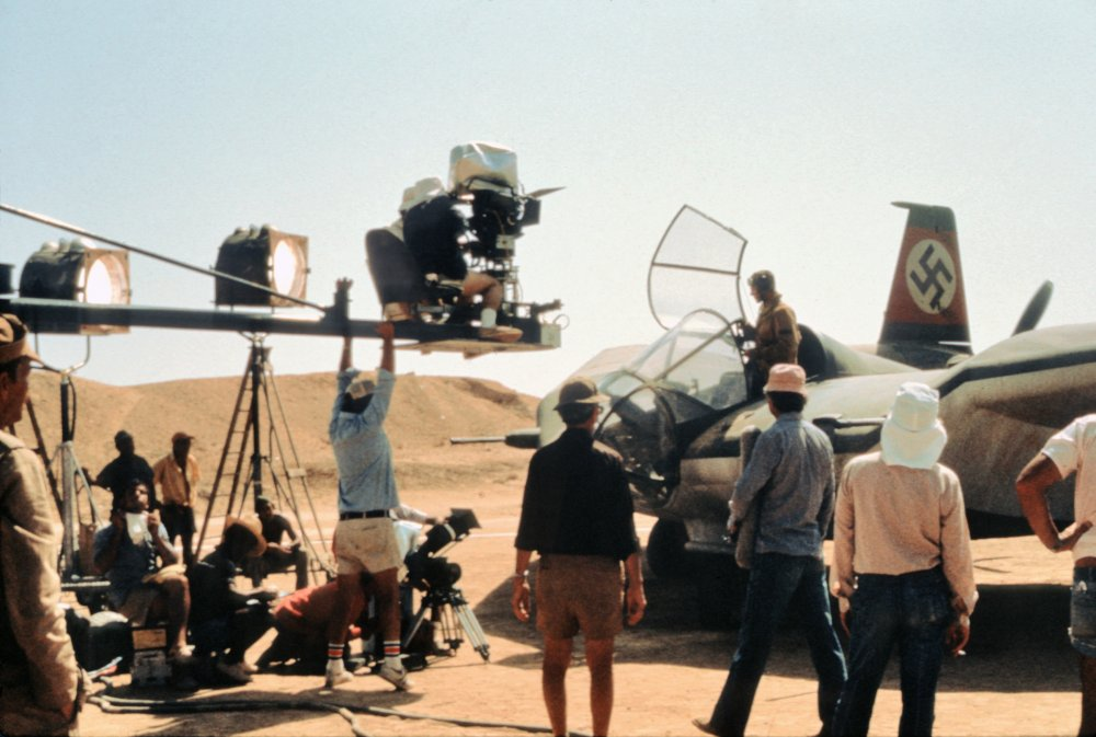 Filming the scene of a fight on the Nazi plane
