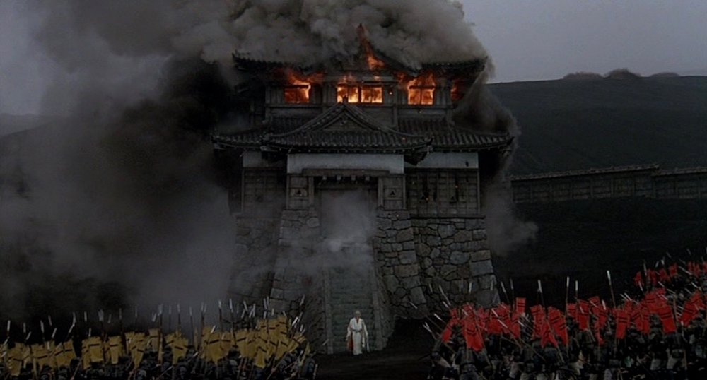The sequence in which Hidetora is driven from the castle in which he has taken refuge, his entire army slaughtered, is among the most remarkable in any of Kurosawa's films. The howling wind tears at his hair and robes while black smoke billows from the castle's burning remains