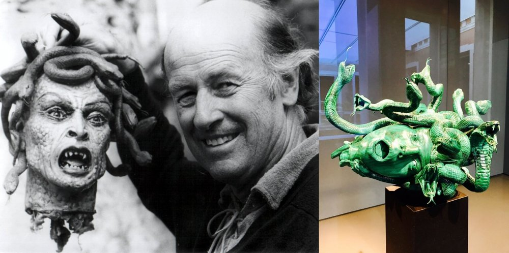 Medusa with Ray Harryhausen; a sculpture from Treasures from the Wreck of the Unbelievable (2017)