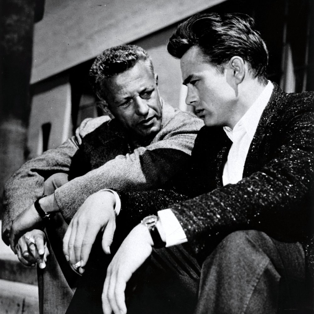 Nicholas Ray and James Dean on the set of Rebel without a Cause (1955)