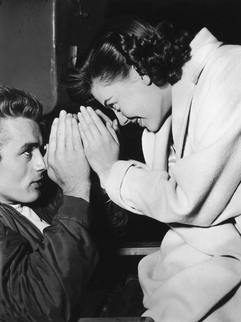 The two tragic stars of Rebel without a Cause – Dean and Natalie Wood – share a moment between takes. Dean died in a car crash in 1955, one month before the film was released; he was 24. Wood drowned in 1981, aged 43.
