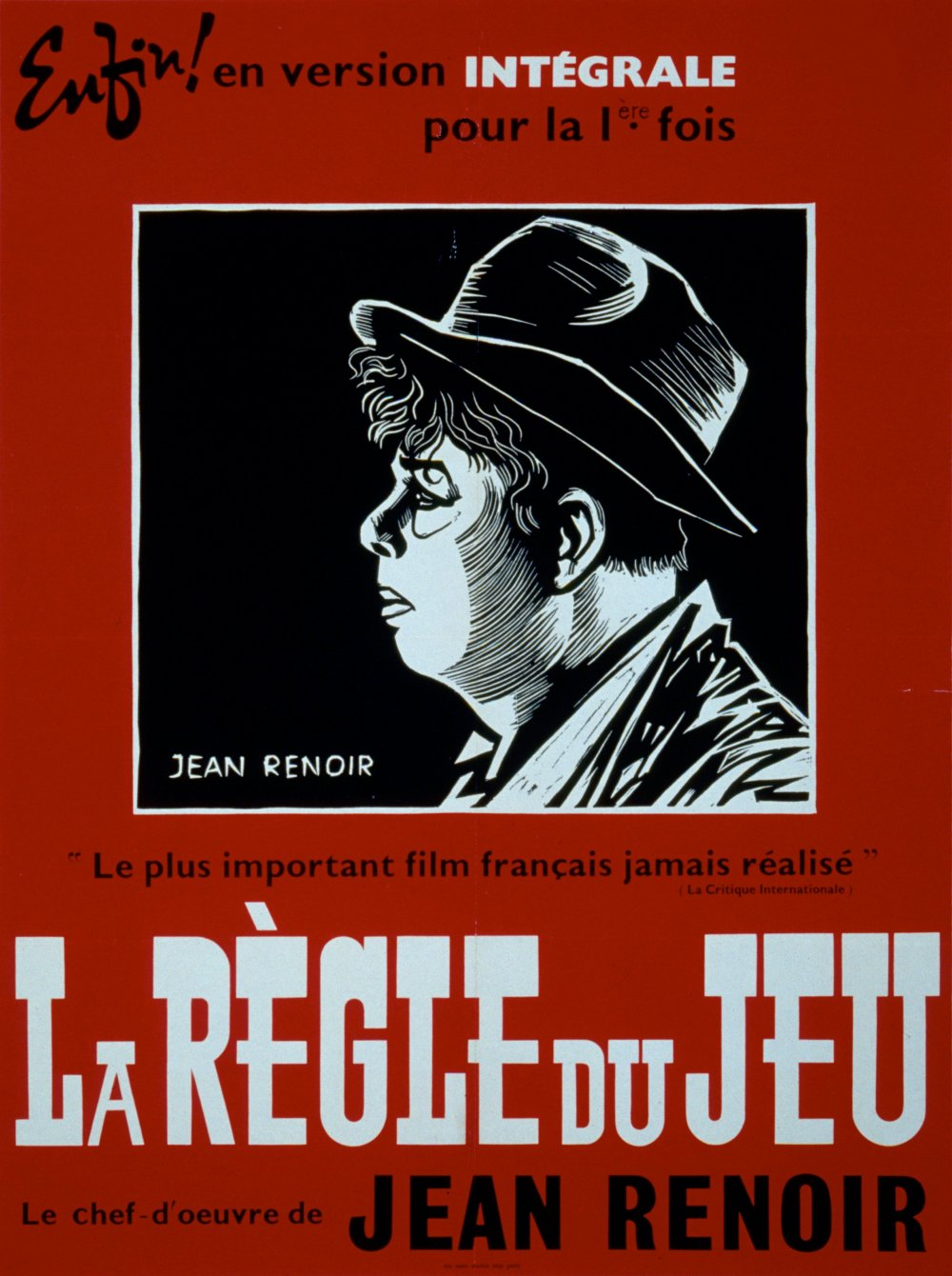 The French poster for the 1959 restoration of La Règle du jeu (1939)