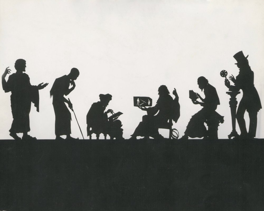 Cut-out puppet animation silhouettes by Lotte Reiniger