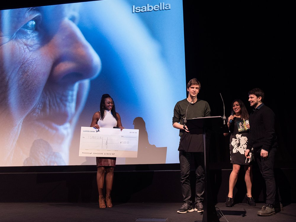 Isabella co-directors, Ross Hogg and Duncan Cowles, pick up their prizes from Rhianna Dhillon and Remel London at the 9th BFI Future Film Festival Awards