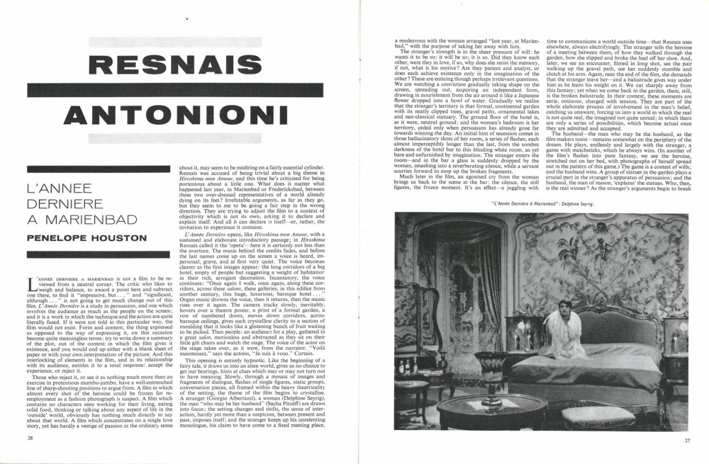 Penelope Houston's article on Last Year in Marienbad in the Winter 1961/62 issue of Sight & Sound