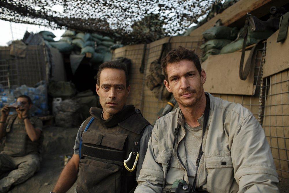 Co-directors Sebastian Junger (left) and Tim Hetherington