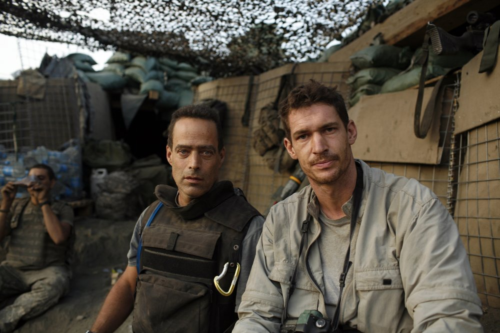 Co-directors Sebastian Junger (left) and Tim Hetherington