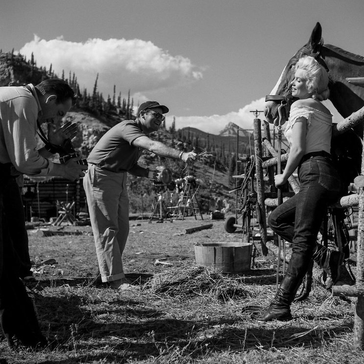 Otto Preminger on location with Monroe for River of No Return (1954)