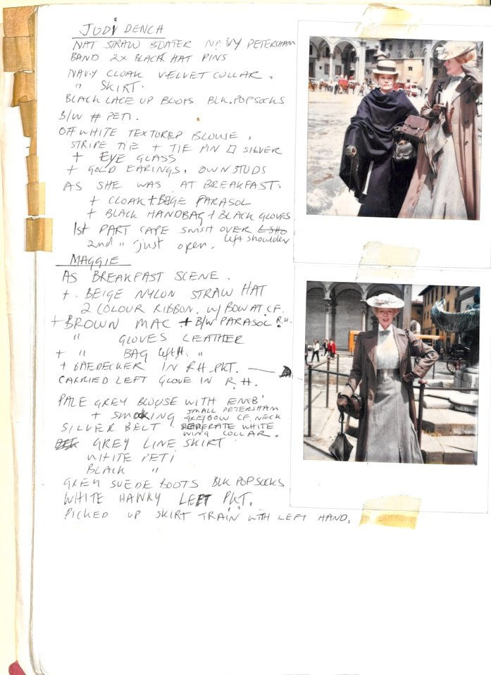 A Room with a View (1985) costume continuity file