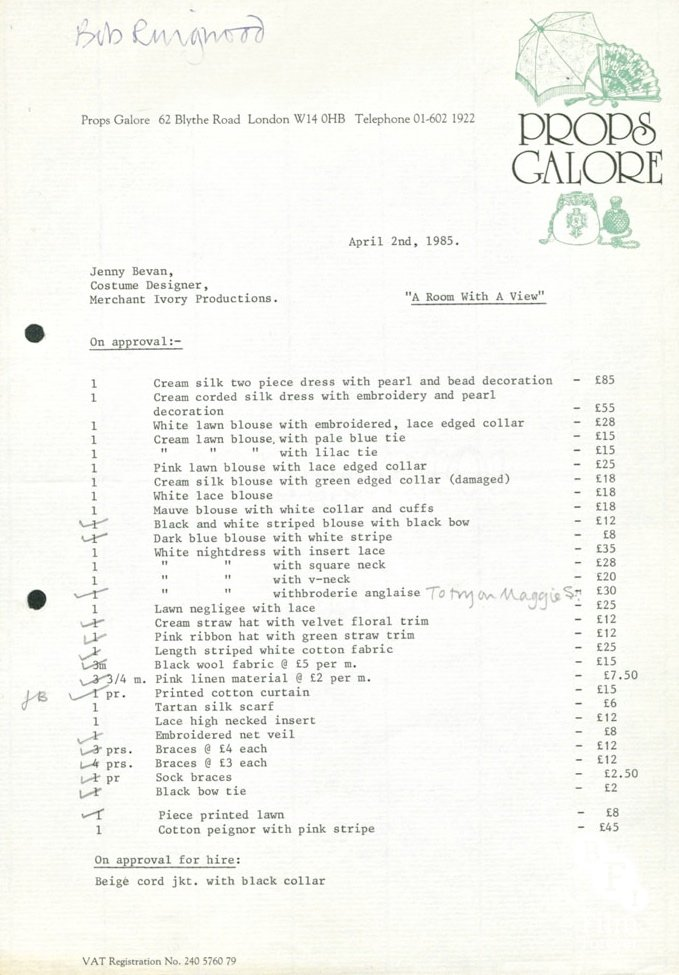Props Galore purchase list for A Room with a View (1985)