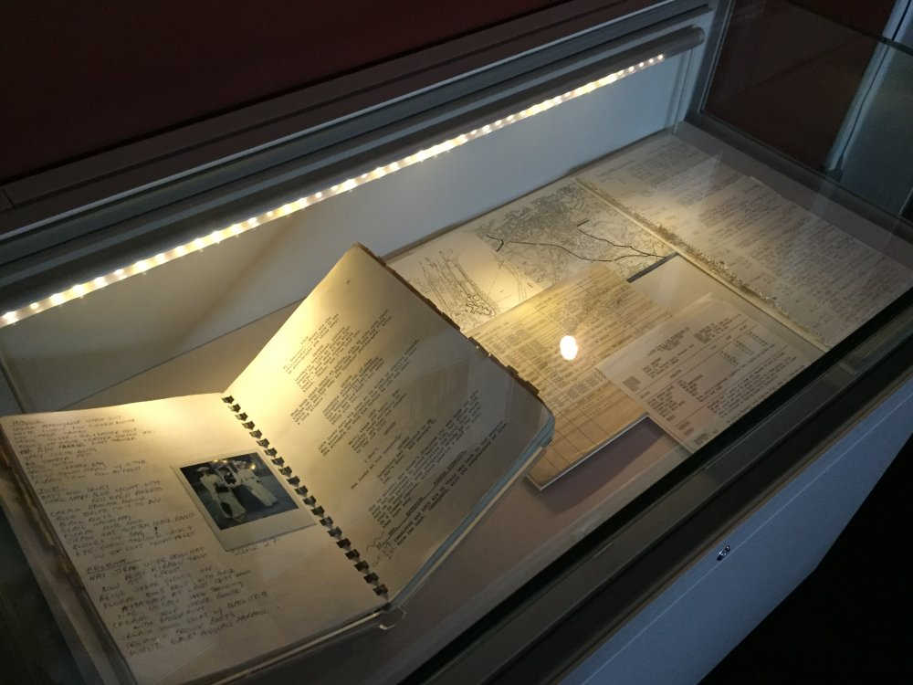 A Room with a View (1985): production papers by Jenny Beavan installed in the In Love with Costume exhibition at BFI Southbank's Mezzanine gallery