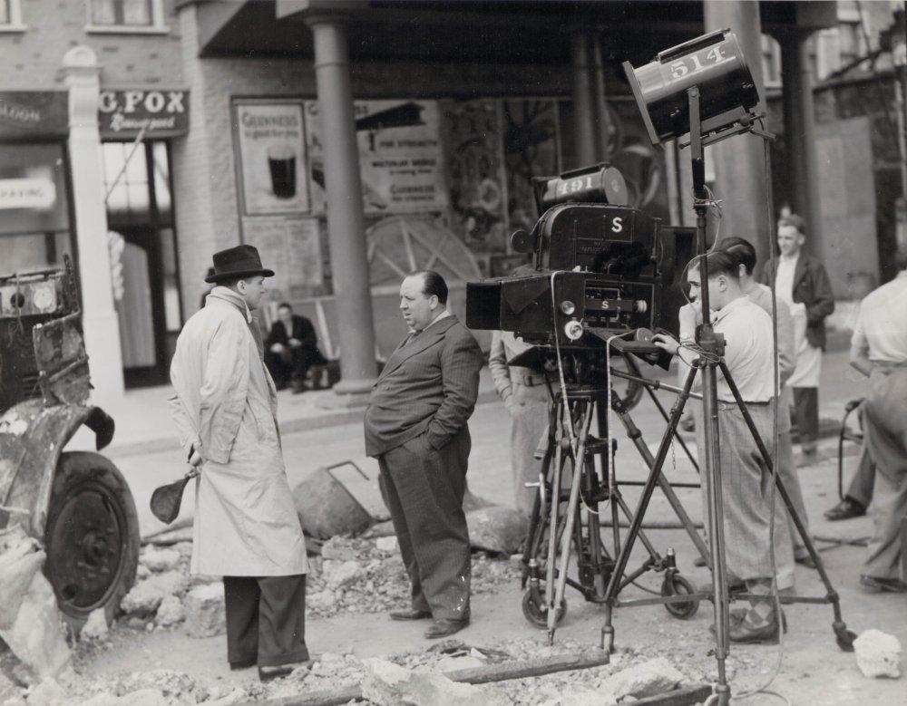 Alfred Hitchcock (centre) filming Sabotage (1936)