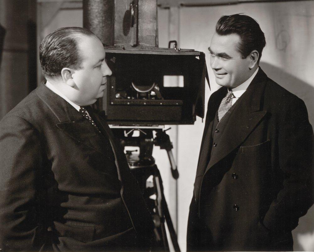 Hithcock with Sabotage actor Oscar Homolka