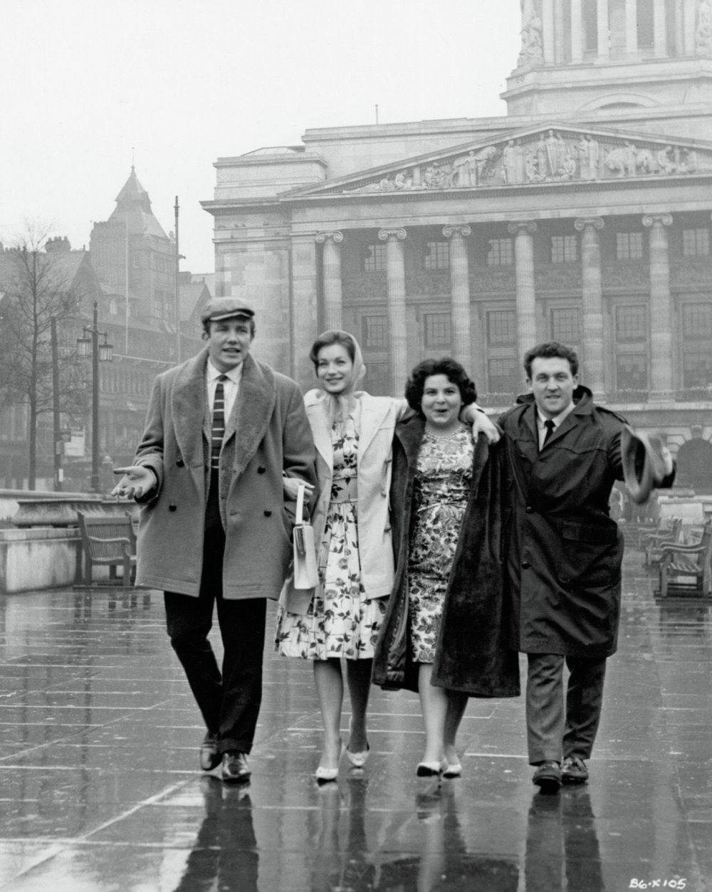 The cast of Saturday Night and Sunday Morning – Albert Finney, Shirley Anne Field, Louise Dunn and Norman Rossington – in Market Square, Nottingham