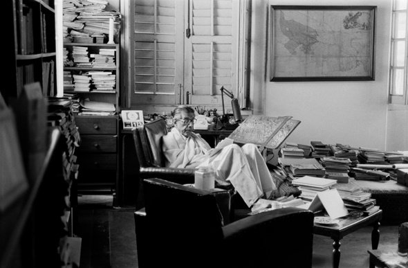 Ray at work in his study at Bishop Lefroy Road, Calcutta