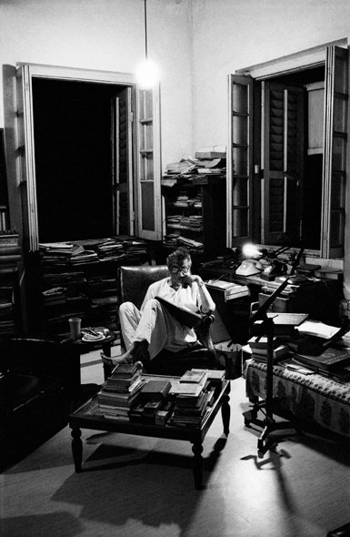 Ray working at night in his study