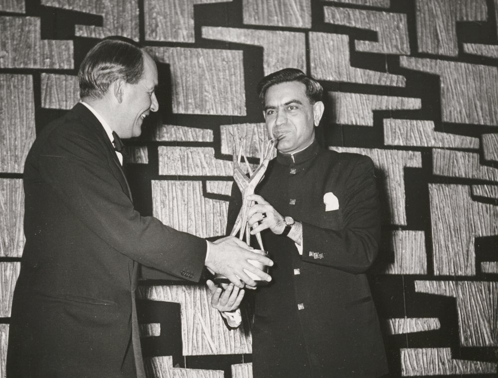 Satyajit Ray receiving the second ever Sutherland Award for his film The World of Apu at the 1959 London Film Festival