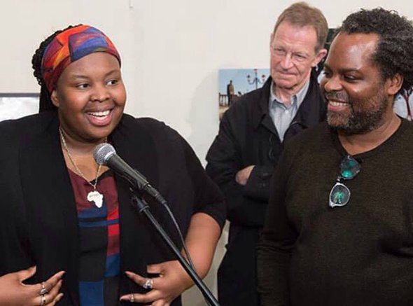 Saye with Nicholas Serota and David A. Bailey at the opening of the Diaspora Pavillion