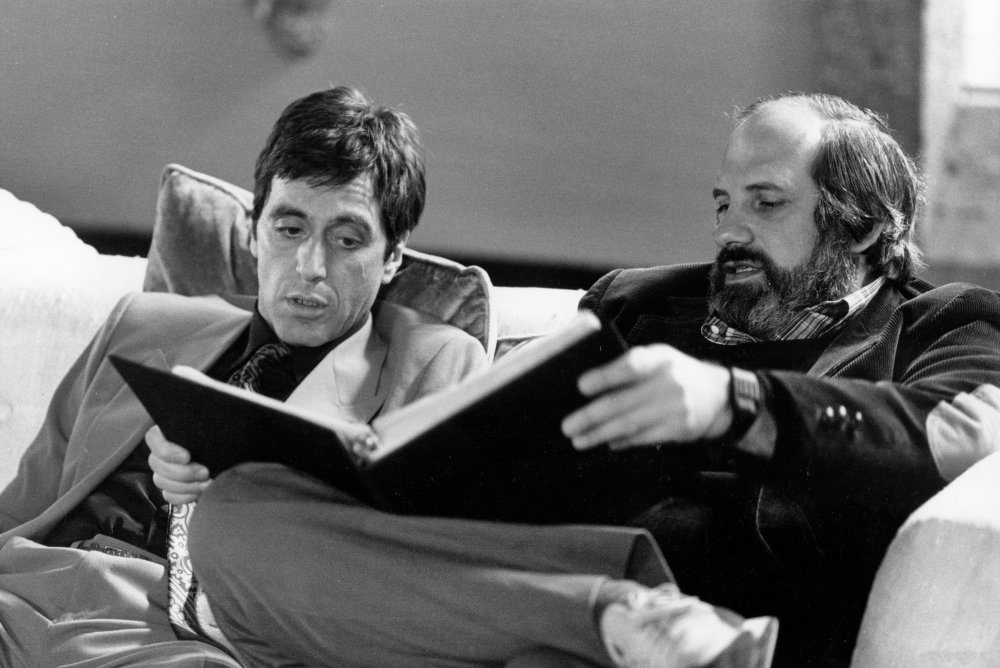 Perusing the shooting script with Pacino and De Palma. The actor and director reteamed for another underworld tale with 1993's Carlito's Way