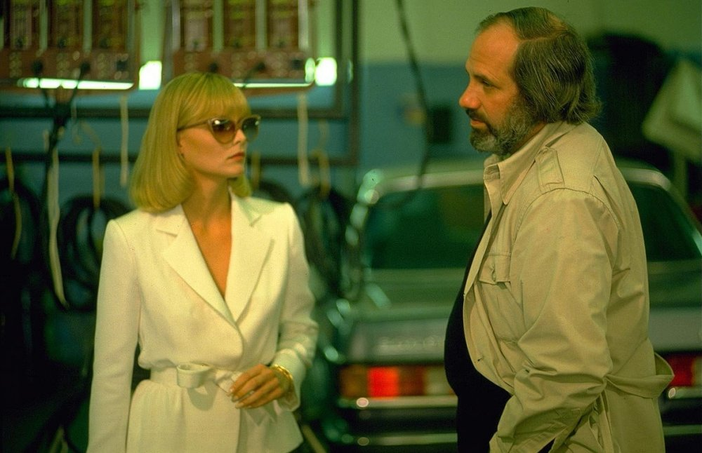 Michelle Pfeiffer as cocaine-addicted gangster's moll Elvia Hancock, on location with De Palma