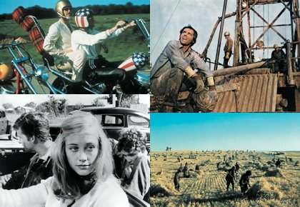 Clockwise from top left: Easy Rider; Five Easy Pieces; Days of Heaven; The Last Picture Show