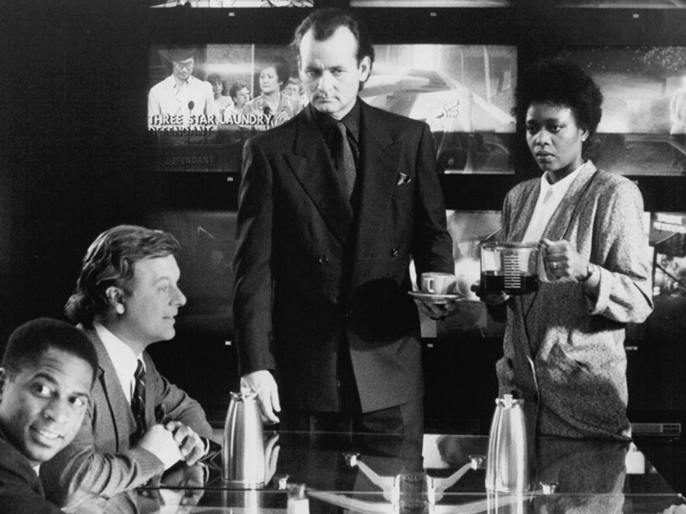 Bill Murray, Bobcat Goldthwait and Alfre Woodard during the production of Scrooged (1988)