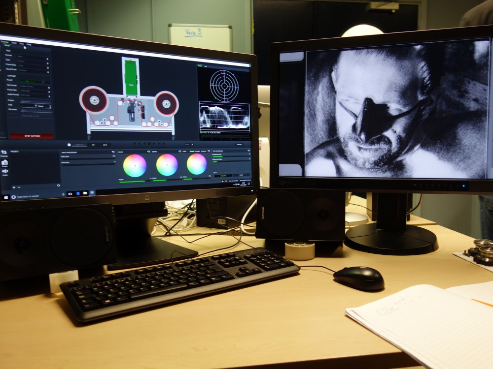 Identification work being done by our technical team on the rare alternate take of Sebastiane