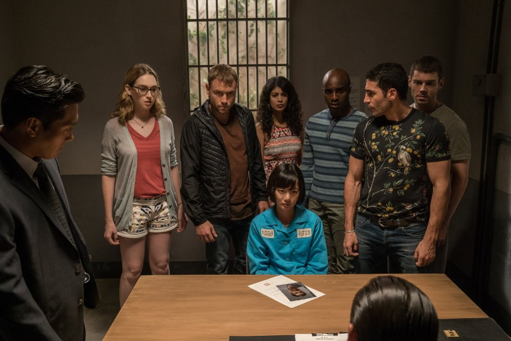 The Sense8 cluster in Sense8, a Netflix series co-directed by Lana and Lilly Wachowski and J. Michael Straczynski