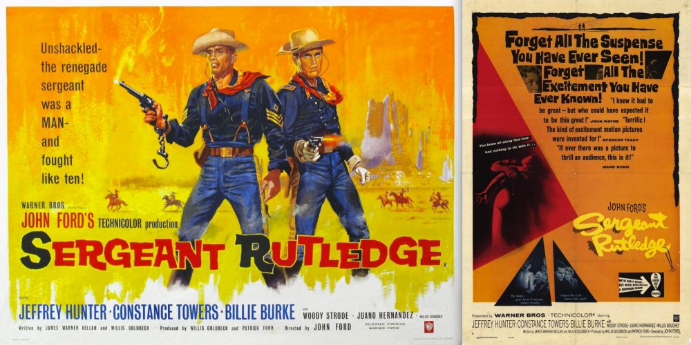 John Ford's Sergeant Rutledge (1960s) was the first big-budget western to feature a black hero. One of its American posters refelects that, another doesn't.