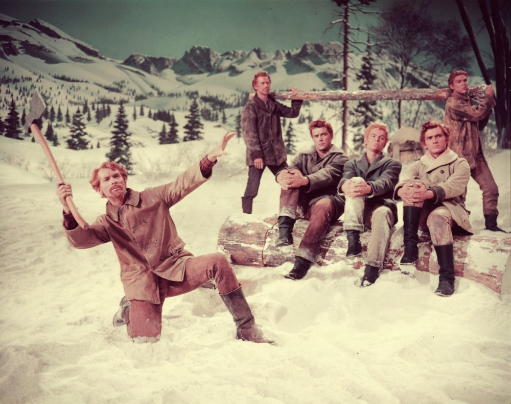 Adequately dressed for a long winter up in the mountains of Oregon, the seven brothers in Seven Brides for Seven Brothers (1954) look apiece in winter boots, jackets and heavy-duty trousers. But not a woolly hat between them, interestingly