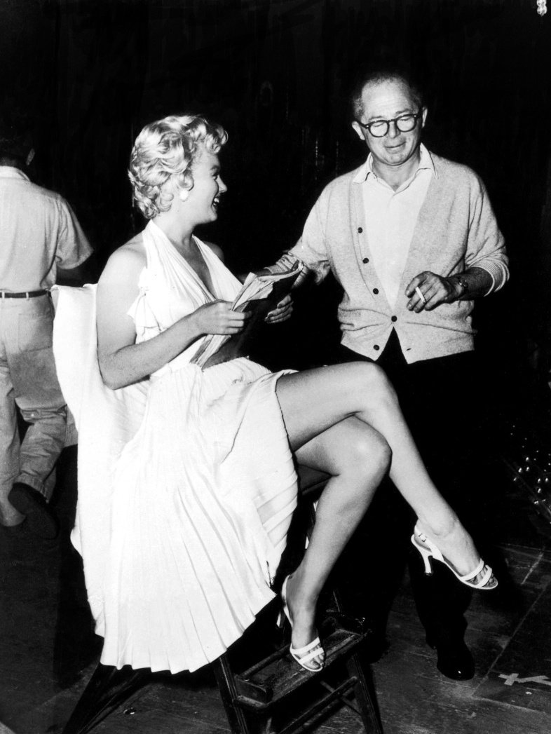 Monroe and Billy Wilder on the set of The Seven Year Itch (1955)