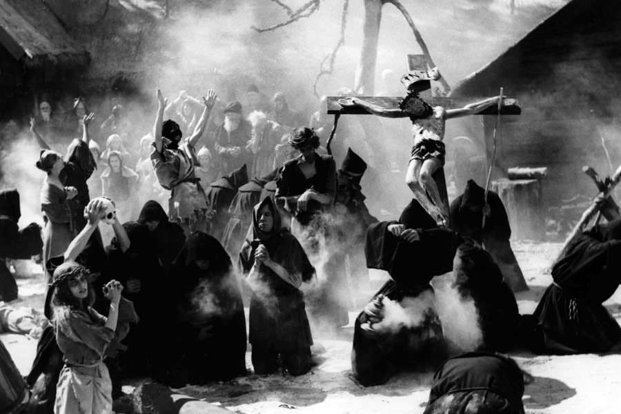 The parade of the self-flagellants in The Seventh Seal (1957)
