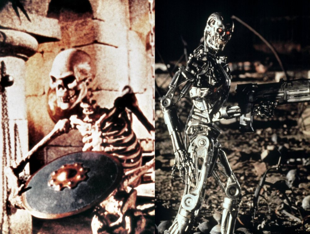 The Seventh Voyage of Sinbad (left, 1958); Terminator 2: Judgement Day (right, 1991)