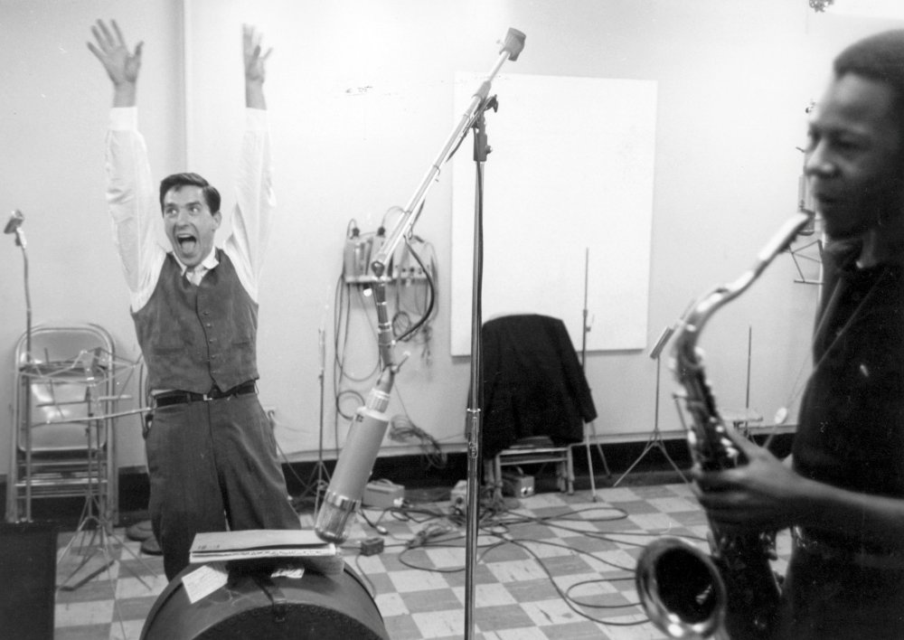 Curtis Porter recording the soundtrack for John Cassavetes' Shadows (1959) with help from the director