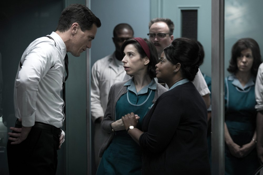 Michael Shannon as Strickland with Hawkins and Octavia Spencer as Zelda