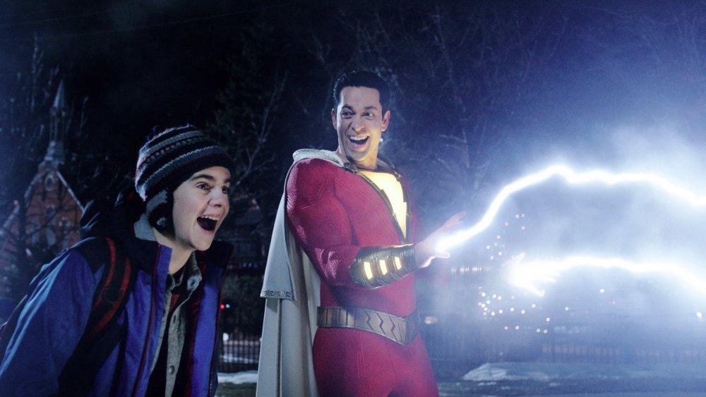 Zachary Levi as Shazam with Jack Dylan Grazer as Freddy Freeman