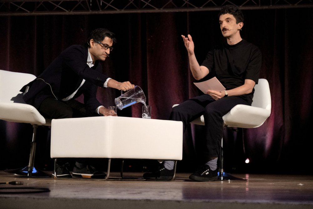 Asif Kapadia and Luke Moody on stage at the opening night of Sheffield Doc/Fest 2019