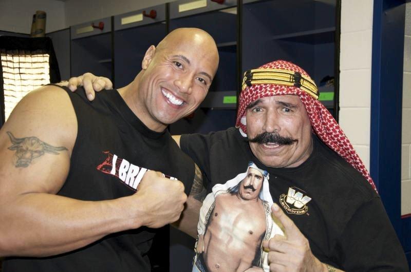 Dwayne 'The Rock' Johnson with Khosrow Vaziri aka the Iron Sheik, star of Igal Hecht's crowd-funded The Sheik (2014)
