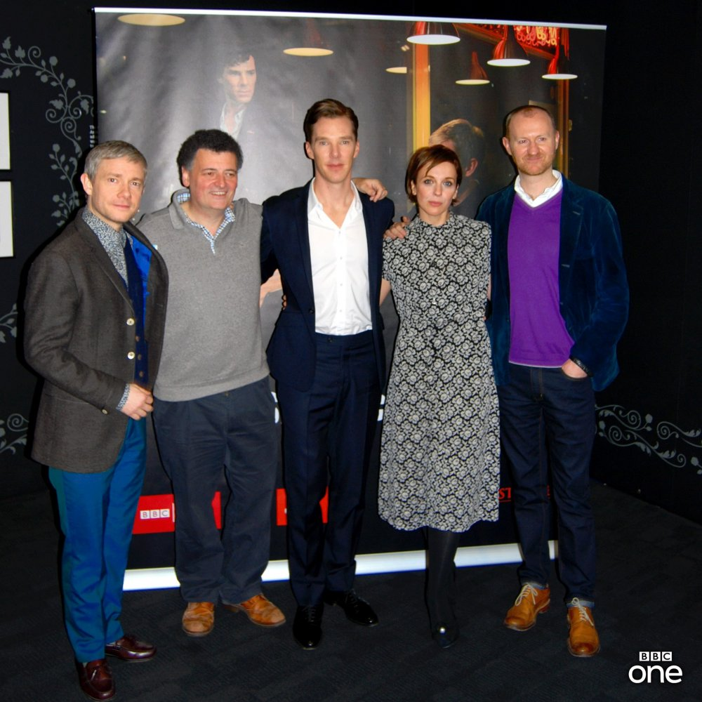 Martin Freeman, Steven Moffat, Benedict Cumberbatch, Amanda Abbington and Mark Gatiss at a preview screening of 'The Empty Hearse' at BFI Southbank.