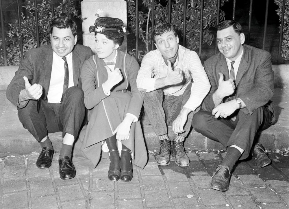 Robert Sherman, right, on the set of Mary Poppins with (from left) his brother Richard, Julie Andrews and Dick Van Dyke.