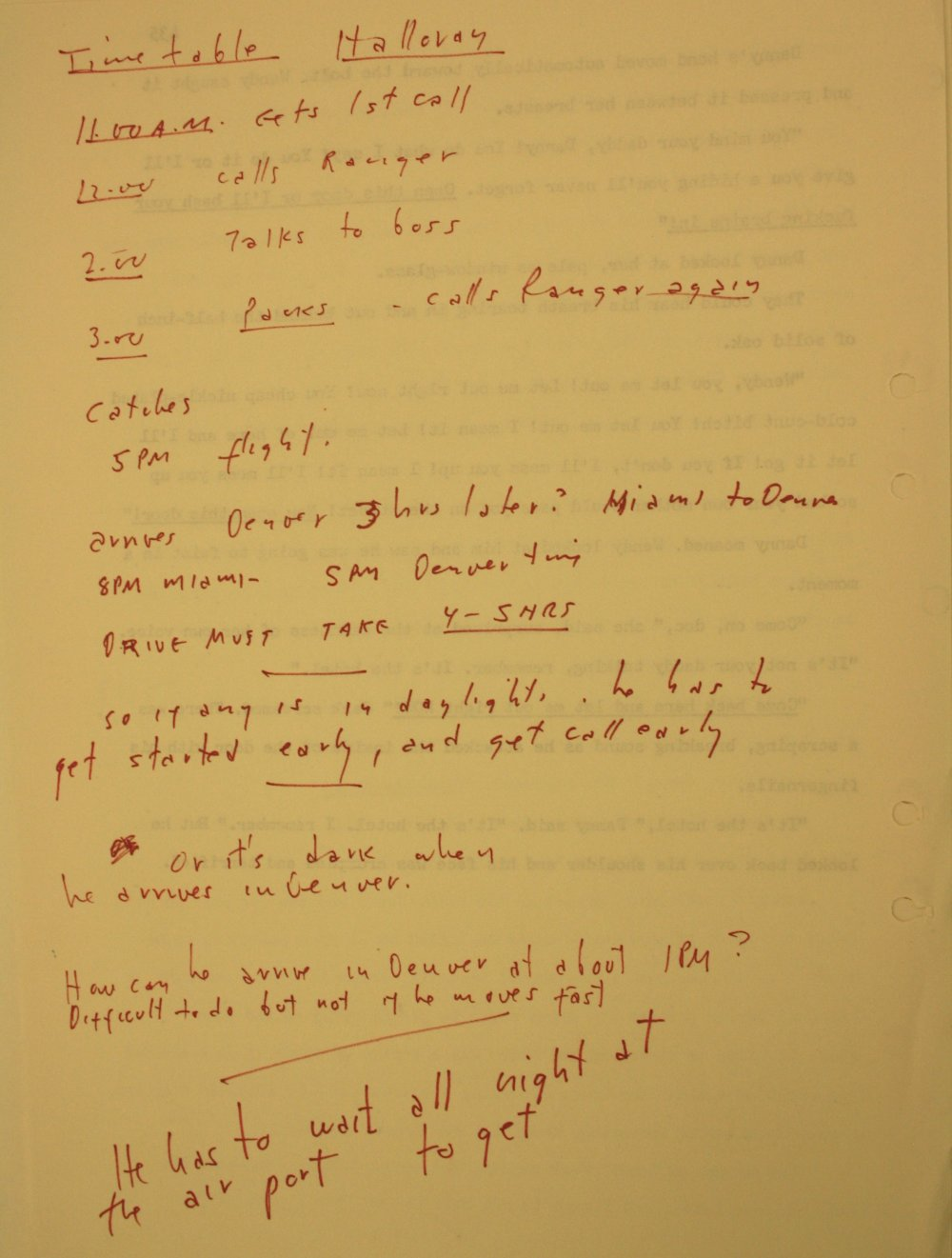 Kubrick precisely timetables a journey from Miami to The Overlook Hotel for the character of Dick Hallorann (played in the film by Scatman Crothers)